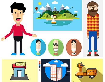 آموزش طراحی کاراکتر و عناصر فلت وکتور شامل منظره و آیکون در ایلوستریتور به زبان فارسی
